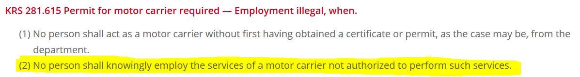 legal kentucky limo
